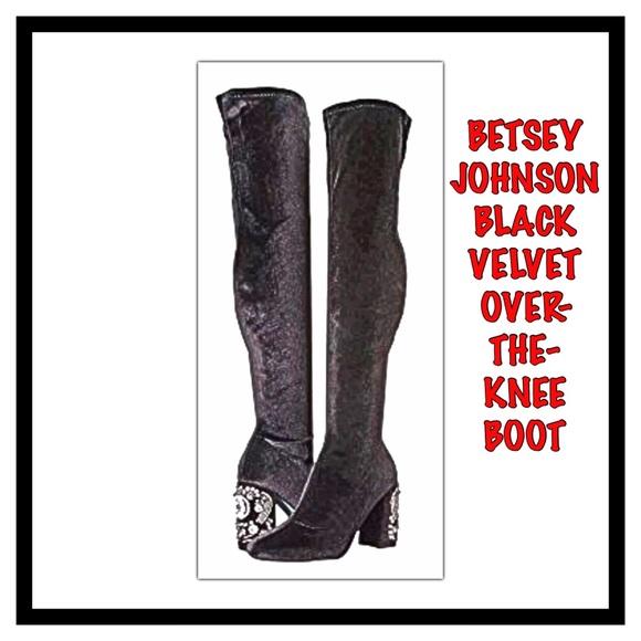 3b0aef4c42b Betsey Johnson Black Velvet Over-The-Knee Boot